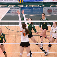 4th year middle blocker Kathleen Ens (8) of the Regina Cougars in action during Women's Volleyball home game on January 13 at Centre for Kinesiology, Health and Sport. Credit: Arthur Ward/Arthur Images 2018