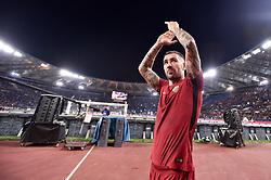 November 18, 2017 - Rome, Italy - Aleksandar Kolarov of Roma celebrates the victory at the end of the Serie A match between Roma and Lazio at Olympic Stadium, Roma, Italy on 18 November 2017. (Credit Image: © Giuseppe Maffia/NurPhoto via ZUMA Press)