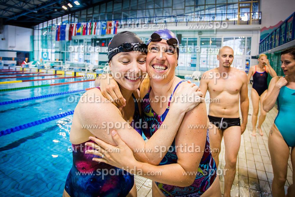 Anja Carman Cekic and Anja Klinar during her retirement in Olympic swimming pool Kranj, Kranj, on May 28. Photo by Ziga Zupan / Sportida