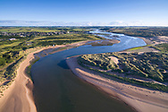 The Ythan Estuary at Newburgh with an extensive sand dune system covered in marram grass.  Aberdeenshire, Scotland.