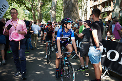 Elena Cecchini (ITA) makes her way through the crowds to sign on at Giro Rosa 2018 - Stage 4, a 109 km road race starting and finishing in Piacenza, Italy on July 9, 2018. Photo by Sean Robinson/velofocus.com
