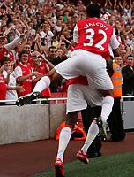 Photo: Steve Bond.<br />Arsenal v Derby County. The FA Barclays Premiership. 22/09/2007. Theo walcott (32) congratulates Emmanual Adebayor
