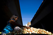 Casandra Palmer shops for onions at the Sunday Certified Farmers' Market in Sacramento, California.