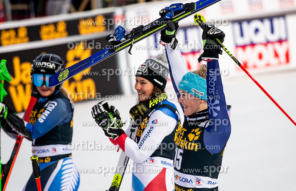1st placed ROBINSON Alice of New Zealand, 3rd placed HOLDENER Wendy of Switzerland and HROVAT Meta of Slovenia celebrate after the 2nd Run during the Ladies' GiantSlalom at 56th Golden Fox event at Audi FIS Ski World Cup 2019/20, on February 15, 2020 in Podkoren, Kranjska Gora, Slovenia. Photo by Matic Ritonja / Sportida