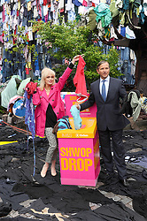 "Joanna Lumley & Marc Bolland (M&S CEO) at the launch of ""Shwopping"". Using 5 minutes worth of UK clothing waste M&S transformed a London street to show how it plans to give old clothes a future through it's new fashion initiative, Wednesday, 25th April 2012.  Photo by: Chris Joseph / i-Images"