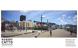 A panoramic view of Wellington's Lambton Harbour area. at Lambton Harbour, Wellington, New Zealand.