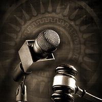 a microphone and gavel. A justice illustration