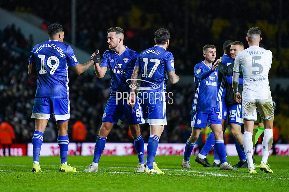 Cardiff City celebrate earning a 3-3 draw during the EFL Sky Bet Championship match between Leeds United and Cardiff City at Elland Road, Leeds, England on 14 December 2019.