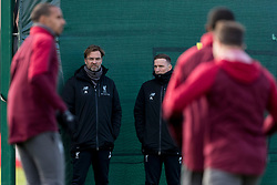 LIVERPOOL, ENGLAND - Monday, February 18, 2019: Liverpool's manager Jürgen Klopp and Pepijn Lijnders during a training session at Melwood ahead of the UEFA Champions League Round of 16 1st Leg match between Liverpool FC and FC Bayern München. (Pic by Paul Greenwood/Propaganda)