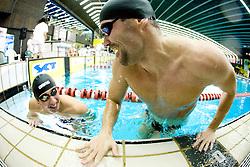 Mario Todorovic of Croatia and Peter Mankoc of PK Ilirija (SLO)  during the 50m Butterfly at the swimming competition Ilirija Challenge 2009, on December 16, 2009, in Tivoli pool, Ljubljana, Slovenia. (Photo by Vid Ponikvar / Sportida)