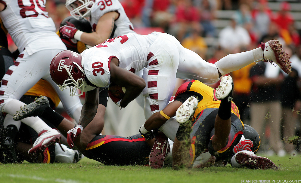 September 24, 2011; College Park, MD, USA; Temple Owls running back Bernard Pierce (30) on a rushing play against the Maryland Terrapins during first half at Byrd Stadium in College Park, Maryland. Brian Schneider-www.ebrianschneider.com