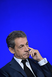 File photo - LR party president, former French President Nicolas Sarkozy during a National Council of French right-wing party Les Republicains (LR) to discuss and define the party's policy ahead of its primary elections, at Porte de Versailles in Paris, France on February 13, 2016. A French judge has ordered ex-President Nicolas Sarkozy to stand trial in an illegal campaign finance case. Mr Sarkozy faces accusations that his party falsified accounts in order to hide 18m euros of campaign spending in 2012. Mr Sarkozy denies he was aware of the overspending, and will appeal against the order to stand trial. Photo by Christian Liewig/ABACAPRESS.COM