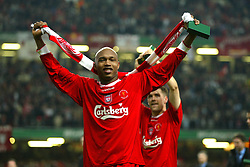 CARDIFF, WALES - Sunday, March 2, 2003: Liverpool's El-Hadji Diouf celebrates beating Manchester United 2-0 during the Football League Cup Final at the Millennium Stadium. (Pic by David Rawcliffe/Propaganda)