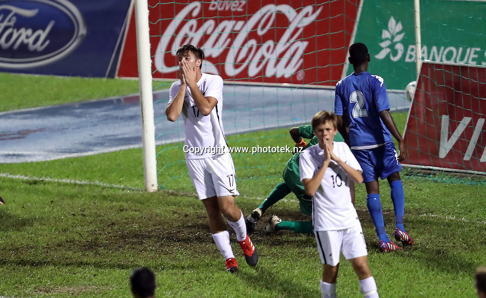 New Zealand's Matthew Palmer comes close to scoring a goal. OFC U-17 Championship 2017, New Zealand v Fiji, #NZLFIJ #OFCU17M Stade Pater, Papeete, Tahiti, Saturday 18th February 2017. Photo: Shane Wenzlick / www.phototek.nz