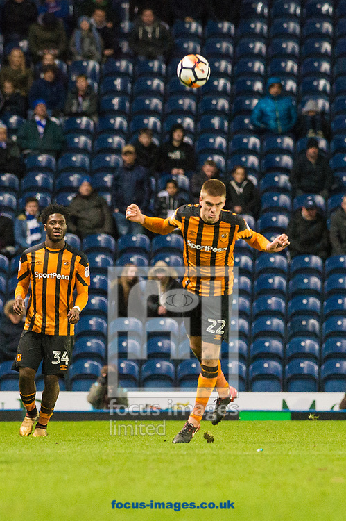 Markus Henriksen of Hull City heads forward during the FA Cup match at Ewood Park, Blackburn<br /> Picture by Matt Wilkinson/Focus Images Ltd 07814 960751<br /> 06/01/2018
