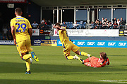 Luton Town midfielder Andrew Shinnie (11) makes a tackle on Bristol Rovers midfielder Ollie Clarke (8) during the EFL Sky Bet League 1 match between Luton Town and Bristol Rovers at Kenilworth Road, Luton, England on 15 September 2018.