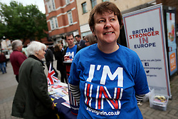 UK ENGLAND CANTERBURY 14MAY16 - Sarah Perrin, a volunteer for the Vote Remain campaign poses for a photo at their stall in Canterbury High Street.<br /> <br /> jre/Photo by Jiri Rezac<br /> <br /> © Jiri Rezac 2016