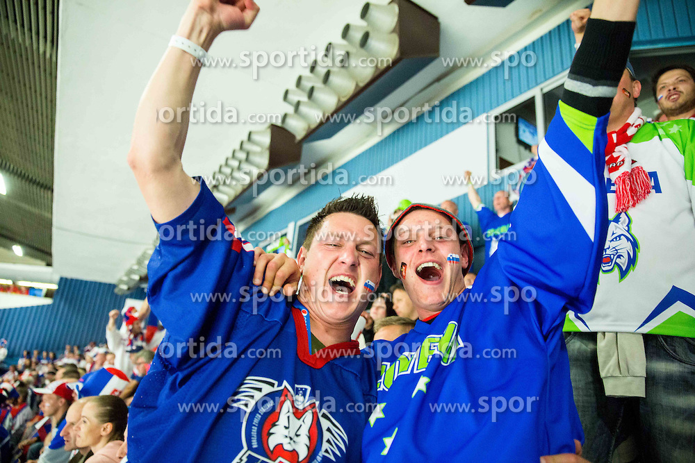 Slovenian fans celebrate after Slovenia scoring during Ice Hockey match between Slovakia and Slovenia at Day 5 in Group B of 2015 IIHF World Championship, on May 5, 2015 in CEZ Arena, Ostrava, Czech Republic. Photo by Vid Ponikvar / Sportida