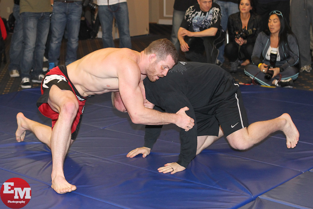 March 17, 2011; Newark, NJ; Nate Marquardt works out for the media in preparation for his upcoming fight against Dan Miller at UFC 128 in Newark, NJ.