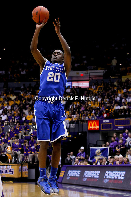 January 28, 2012; Baton Rouge, LA; Kentucky Wildcats guard Doron Lamb (20) shoots against the LSU Tigers during the first half of a game at the Pete Maravich Assembly Center.  Mandatory Credit: Derick E. Hingle-US PRESSWIRE