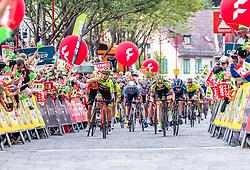 09.07.2019, Frohnleiten, AUT, Ö-Tour, Österreich Radrundfahrt, 3. Etappe, von Kirchschlag nach Frohnleiten (176,2 km), im Bild v.l.: Etappensieger Giovanni Visconti (Neri Selle Italia KTM, ITA), Collin Criss Stuessi (Team Vorarlberg Santic, SUI) // v.l.: Etappensieger Giovanni Visconti (Neri Selle Italia KTM, ITA), Collin Criss Stuessi (Team Vorarlberg Santic, SUI) during 3rd stage from Kirchschlag to Frohnleiten (176,2 km) of the 2019 Tour of Austria. Frohnleiten, Austria on 2019/07/09. EXPA Pictures © 2019, PhotoCredit: EXPA/ Johann Groder