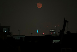 © Licensed to London News Pictures. 08/04/2020. London, UK. A full supermoon seen over rooftops above the Shard building on the London skyline. Also know as the Pink Moon at this time of year it was at it's fullest at 3:34am. A supermoon is a full or new moon that comes closet to the Earth in its elliptical orbit—resulting in a slightly larger than usual apparent size when viewed from Earth. Photo credit: Ben Cawthra/LNP