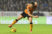 Wolverhampton Wanderers midfielder Diogo Jota (18)  controls the ball 2-0 during the EFL Sky Bet Championship match between Wolverhampton Wanderers and Fulham at Molineux, Wolverhampton, England on 3 November 2017. Photo by Alan Franklin.