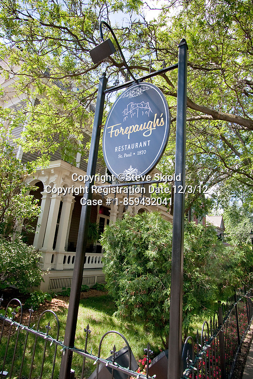 Forepaugh's Restaurant three story historic Victorian mansion in the Irvine Park Historic District. St Paul Minnesota MN USA