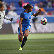 HARRISON, NEW JERSEY- MARCH 4:  Marie-Laure Delie #18 of France challenged by Babett Peter #5 of Germany during the France Vs Germany SheBelieves Cup International match at Red Bull Arena on March 4, 2017 in Harrison, New Jersey. (Photo by Tim Clayton/Corbis via Getty Images)