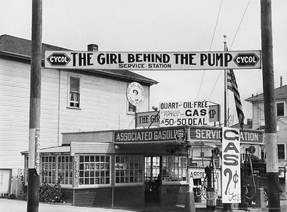 """The Girl Behind the Pump,"" Gas Station, Pacific Coast Highway, Los Angeles, California, USA, 1926"