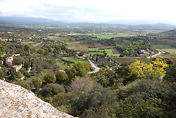 Distance view from the hilltop village of Gordes, Luberon area of Provence, France.
