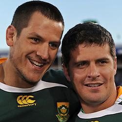 Pierre Spies and Morne Steyn of South Africa with the 2009 Lions Series Trophy during the British and Irish Lions tour 2009