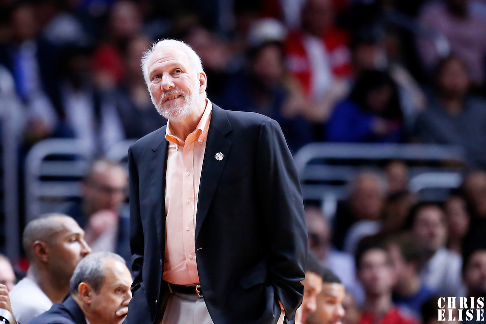 10 November 2014: San Antonio Spurs head coach Gregg Popovich is seen during the San Antonio Spurs 89-85 victory over the Los Angeles Clippers, at the Staples Center, Los Angeles, California, USA.