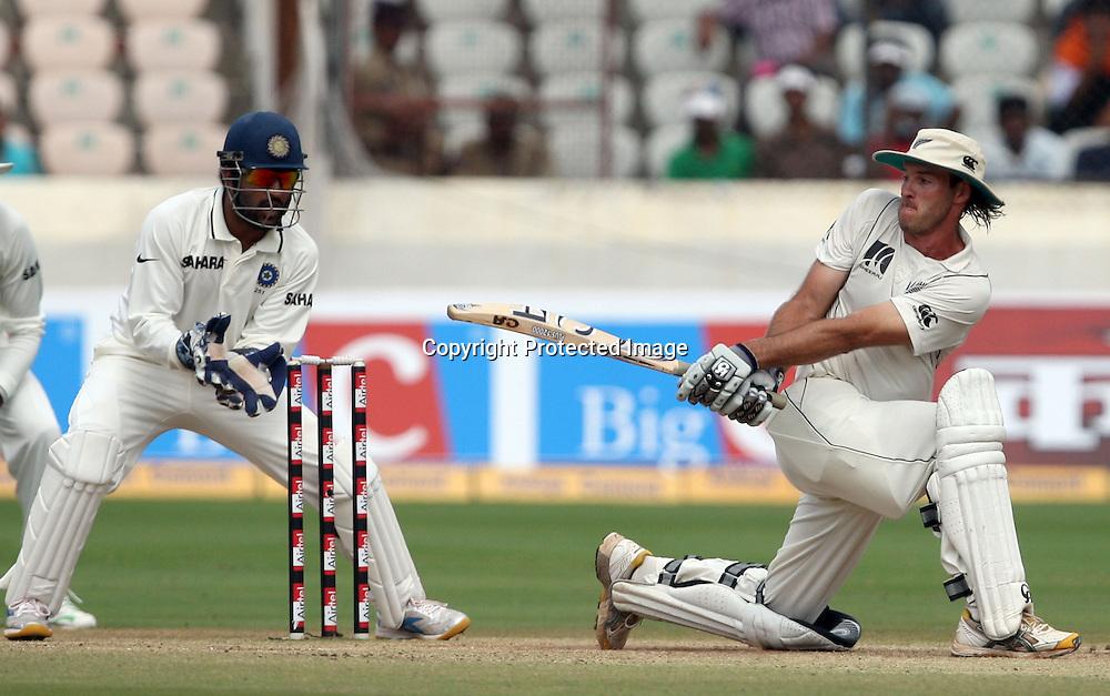 New Zealand batsman Tim McIntosh Playes a shot against india during the 2nd test match Indian vs New Zealand day-4 Played at Rajiv Gandhi International Stadium, Uppal, Hyderabad, 15 November 2010 (5-day match)