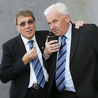 Hamilton Accies v St Johnstone...28.04.07<br /> St Johnstone chairman Geoff Brown finds out that Gretna have beaten Ross County whilst listening to the radio with Youth Development Manager Tommy Campbell.<br /> Picture by Graeme Hart.<br /> Copyright Perthshire Picture Agency<br /> Tel: 01738 623350  Mobile: 07990 594431