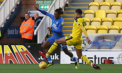 Ivan Toney of Peterborough United in action with Curtis Nelson of Oxford United - Mandatory by-line: Joe Dent/JMP - 08/12/2018 - FOOTBALL - ABAX Stadium - Peterborough, England - Peterborough United v Oxford United - Sky Bet League One