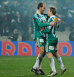 05.12.2010, Gerhard Hanappi Stadion, Wien, AUT, 1. FBL, SK Rapid Wien vs SV Ried, im Bild Jubel Juergen Patocka, (SK Rapid Wien, #3) und Mario Sonnleitner, (SK Rapid Wien, #6) nach 2:0 von Mario Sonnleitner, (SK Rapid Wien, #6)// during Bundesliga footballmatch Gerhard Hanappi Stadium Vienna on 20/11/2010. EXPA Pictures © 2010, PhotoCredit: EXPA/ M. Gruber