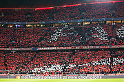 Bayern Munich fans before kick-off in the Champions League match between Bayern Munich and Liverpool at the Allianz Arena, Munich, Germany, on 13 March 2019.