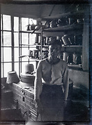 cook standing in his kitchen Japan ca 1950s