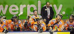 21.10.2012, Eisstadion Liebenau, Graz, AUT, EBEL, Graz 99ers vs Dornbirner EC, 14. Runde, im Bild Thomas Vanek, (99ers, #20), Guillaume Lefebvre, (99ers, #14), Manuel Ganahl, (99ers, #17), Mario Richer, (99ers, Head Coach), Trevor Frischmon, (99ers, #39) // during the Erste Bank Icehockey League 14th Round match betweeen Graz 99ers and Dornbirner EC at the Icehockey Stadium Liebenau, Graz, Austria on 2012/10/21. EXPA Pictures © 2012, PhotoCredit: EXPA/ M. Kuhnke