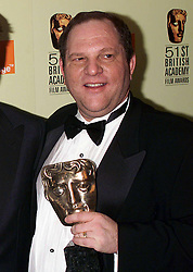 File photo dated 11/04/1996 of Harvey Weinstein with the award for best film for Shakespeare in Love at the British Academy Film Awards (BAFTAs) at the Business Design Centre in London.