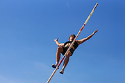 Harry COPPELL competes in the Men's Pole Vault Final which he went on to win with a championship record of 5.71m during the Muller British Athletics Championships at Alexander Stadium, Birmingham, United Kingdom on 24 August 2019.