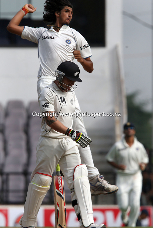 Indian bowler Ishant Sharma celebrates after take New Zealand batsman Brendon McCullum wicket during The India vs New Zealand 3rd test match day-2 Played at Vidarbha Cricket Association Stadium, Jamtha, Nagpur, 21, November 2010 (5-day match)