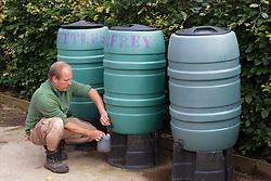 James taking liquid comfrey fertiliser from dedicated water butt