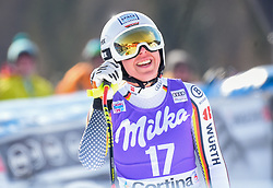 19.01.2019, Olympia delle Tofane, Cortina d Ampezzo, ITA, FIS Weltcup Ski Alpin, Abfahrt, Damen, im Bild Kira Weidle (GER) // Kira Weidle of Germany reacts after her run in the ladie's Downhill of FIS ski alpine world cup at the Olympia delle Tofane in Cortina d Ampezzo, Italy on 2019/01/19. EXPA Pictures © 2019, PhotoCredit: EXPA/ Erich Spiess