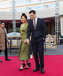 Sandra Oh and Andy Samberg at the rollout of the Red Carpet for the Golden Globe Awards 2019 at the Beverly Hilton Hotel in Beverly Hills, CA. January 3, 2019