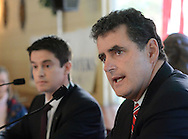 DOYLESTOWN, PA - OCTOBER 24: Republican incumbent US Rep. Mike Fitzpatrick answers a question as Democratic candidate Kevin Strouse (L) listens during a third 8th District Congressional Debate at the Waterwheel October 23, 2014 Doylestown, Pennsylvania. (Photo by William Thomas Cain/Cain Images)