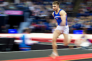 Sam Oldham of Great Britain (GBR) sprints to the Vault during the iPro Sport World Cup of Gymnastics 2017 at the O2 Arena, London, United Kingdom on 8 April 2017. Photo by Martin Cole.