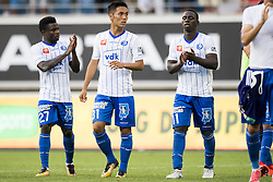 August 27, 2017 - Gent, BELGIUM - Gent's Moses Simon, Gent's Yuya Kubo and Gent's Deiver Machado pictured after the Jupiler Pro League match between KAA Gent and RSC Anderlecht, in Gent, Sunday 27 August 2017, on the fifth day of the Jupiler Pro League, the Belgian soccer championship season 2017-2018. BELGA PHOTO JASPER JACOBS (Credit Image: © Jasper Jacobs/Belga via ZUMA Press)