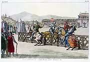 Knights jousting at a tournament: England during the time of Henry II (1154-1189). Early 19th century hand-coloured engraving.
